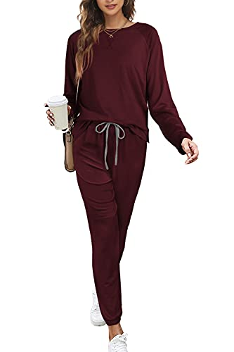 Winter Clothes for Women Fashion Casual Two Piece Sexy Club Outfits Wine Red L
