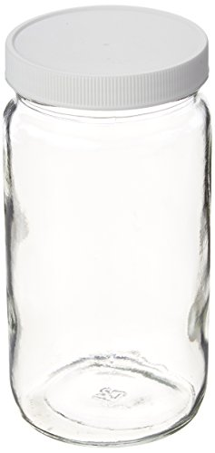 JG Finneran 9-192-2 Clear Borosilicate Glass Precleaned Tall Straight Sided Wide Mouth Jar with White Polypropylene Closure and 0.015