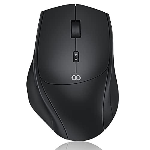 Maus Kabellos, 2.4G & Typ C Wireless Maus Dual-Modus, Kabellose Maus Silent Ergonomische Funkmaus, 7 Tasten Maus mit USB A/USB C Empfänger für PC/Laptop/Tablet und Windows/Mac (Schwarz)