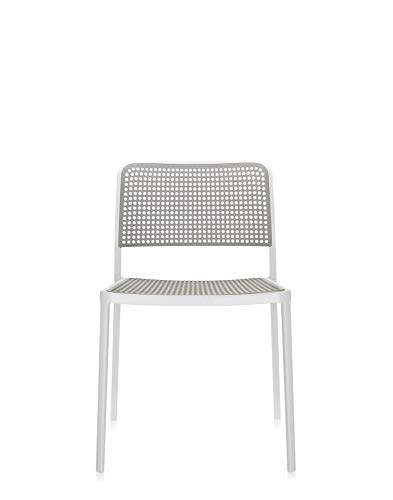 Kartell Audrey Chair by Piero Lissoni, Pack of 2, Pained Aluminum White/Light Grey