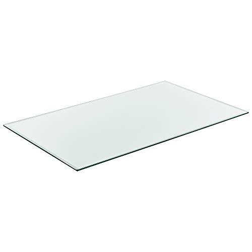[neu.haus] Glasplatte 120x65cm Eckig Glasscheibe Tischplatte ESG Glas Kaminplatte Kaminglas DIY Tisch