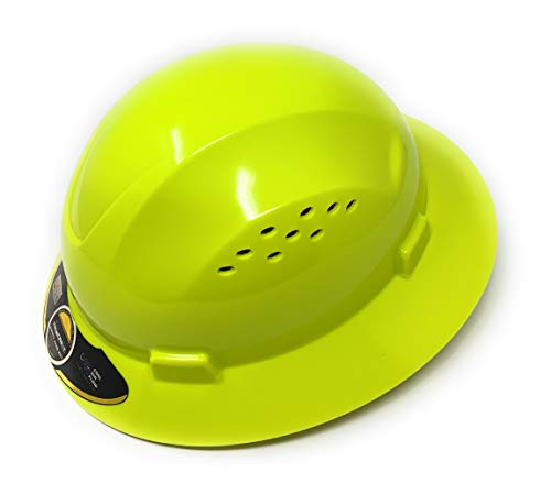 TRUECREST/Lime Full Brim Hard Hat with Fas-trac Suspension
