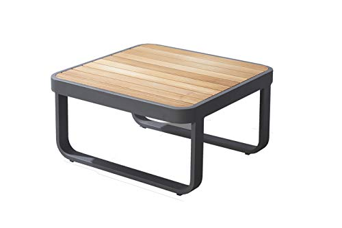 Meubletmoi - Tavolino da giardino in alluminio e piano in legno Teck, stile Lounge – VAHINE