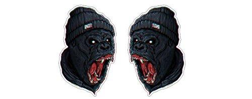 Angry Gorilla Aufkleber 10cm Ape Monkey Affe Tier Mad Beanie Sticker / Plus Schlüsselringanhänger aus Kokosnuss-Schale Auto Motorrad Laptop Racing Tuning Motorsport Hip-Hop Rap Musik