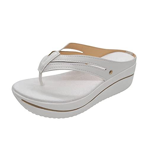 Chanclas con Plataforma de Playa Zapatos Mujer Casual Zapatillas Mujer casa Moda cuñas Madera Mujer vearno 2021 Sandalias de Dedo Espigones Piscina Sandalias Mujer Plataforma cómodos Aire Libre