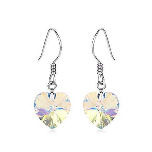 Pendientes de plata con forma de corazón de cristal transparente iridiscente