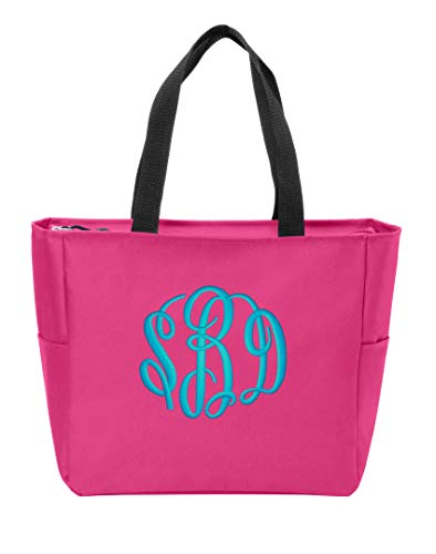 Personalized Monogrammed Shoulder Bag with Custom Text Canvas Tote Bag with Customizable Embroidered Monogram Design (Pink Azalea)