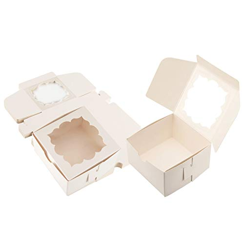 Sharlity 50 Pack Bakery Boxes with Window Pastry Boxes Dessert Boxes Treat Boxes Cookie Boxes for Gift Giving 4x4x2.5 inches (White)