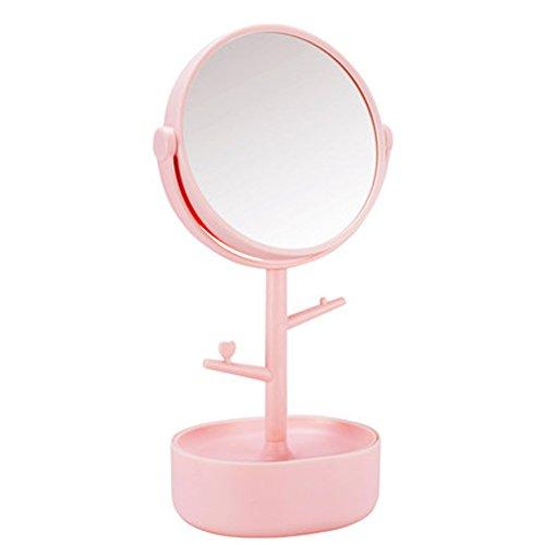Mirroir de Maquillage Bureau Double côté Grand Miroir Miroir de beauté Princesse avec Bijoux boîte-Anniversaire,Vacances,Cadeau-Rose 6inch