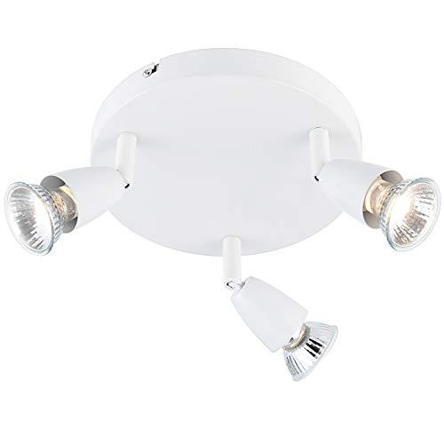 3X 50W GU10 | Modern justerbar trippel 3X glödlampa takspotlight | glansig vit | rund köksö bänkskiva/butik kommersiell dunlampa | rörligt huvud lutning och roterande huvud | LED & dimbar