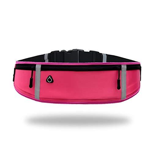 10 Zoll Outdoor Sport Taille Band Tasche Laufen Zurück Packung Drei Ebenen Reißverschluss Tasche Unisex Radfahren Yoga Fitness Jogging Gürtel (Color : Rose red)