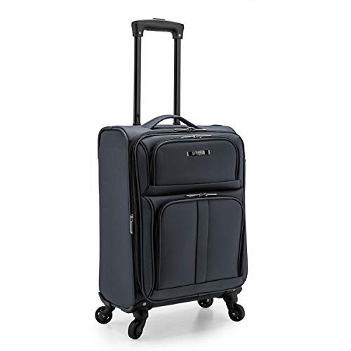 U.S. Traveler Anzio Softside Expandable Spinner Luggage, Dark Grey, Carry-on 22-Inch