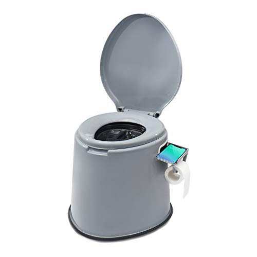 TOOCA Portable Camping Toilet Composting Potty Lugable Loo for Kids Adults Campers Bucket Toilet Seat with Removable Cellphone&Toilet Paper Holder,2 Kinds Buckets for Camping RV,Car,Travel,Home Gray