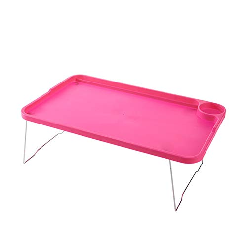 CUzzhtzy Tragbarer Faltbarer Laptop-Schreibtisch, Einstellbarer Studienschreibtisch, stehendes ergonomisches mobiles faules Laptop-Bett zum Lesen (Color : Pink)
