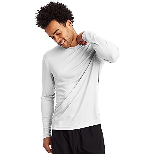 Hanes Men's Long Sleeve Cool Dri T-Shirt UPF 50+, X-Large, 2 Pack ,White