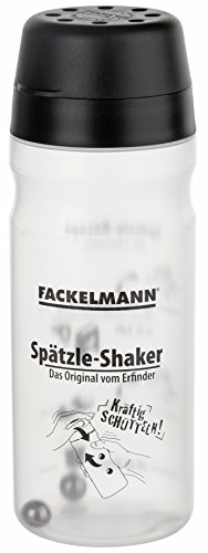 Fackelmann Spätzle-Mix-Shaker, Teigflasche für selbstgemachten Spätzleteig (Farbe: Schwarz/Transparent), Menge: 1 Stück