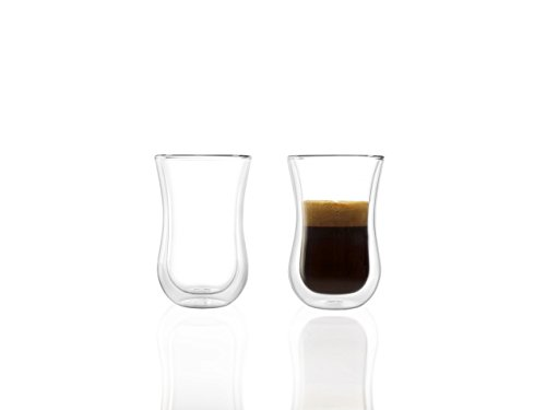 Stölzle Lausitz Kaffeegläser Coffee 'N More I Thermogläser 2er Set I doppelwandige Kaffeebecher I orientalische Teegläser aus Borosilikatglas I spülmaschinenfest & mirkowellengeeignet (90 ml)