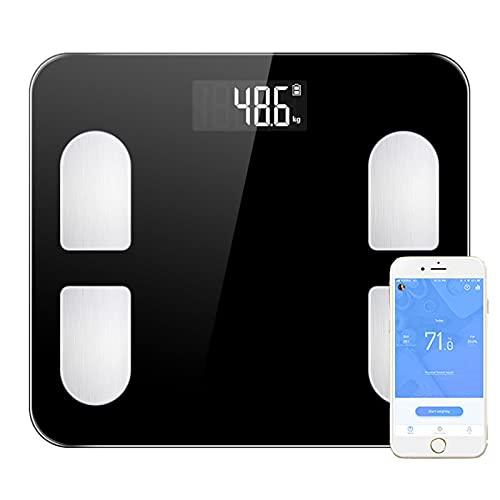 JSJJAUJ Corporal Báscula Escala de Peso Corporal Digital Escala de pesaje Corporal MI COMPOSICIÓN CUERPA COMPOSICIÓN Escala Porcentaje de Grasa Aplicación Bluetooth (Color : White)