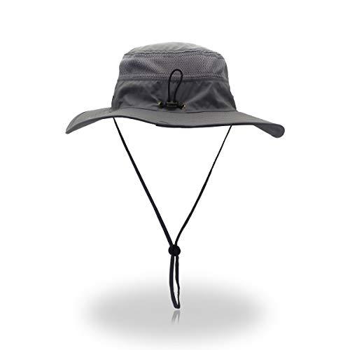 EasyOh Fishing Hat Outdoor UPF 50+ Waterproof Boonie Hat Summer UV Protection Sun Caps for Men/Women-Grey