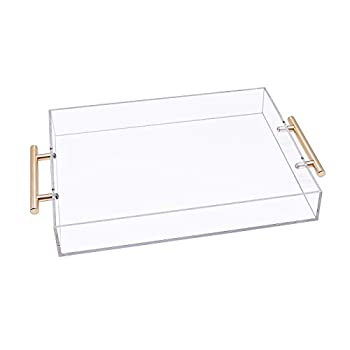 Acrylic Serving Tray with Gold Handle Clear Food Tray for Coffee Table Kitchen