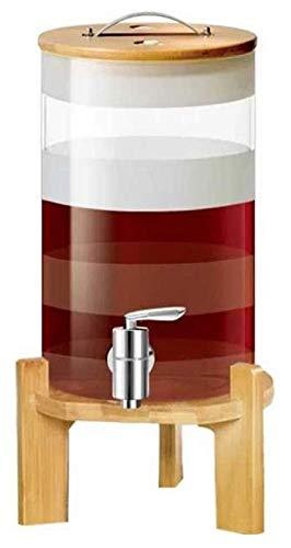 AMDHZ Decantador de Barril de Whisky, con Soporte de Madera y Tapa, Grifo, Resistencia a Alta Temperatura, para Vino Rojo Vino Vodka Cerveza Decantador de Whisky (Size : 7.5L)