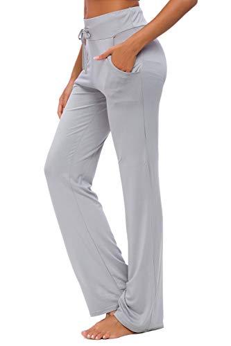 OURCAN Pantalones De Yoga para Mujer con Bolsillos Cordón De Pierna Ancha Salón Recto Suelto Pantalones De Entrenamiento De Entrenamiento Pantalones De Chándal Casuales Activos (Gris Claro, XL)