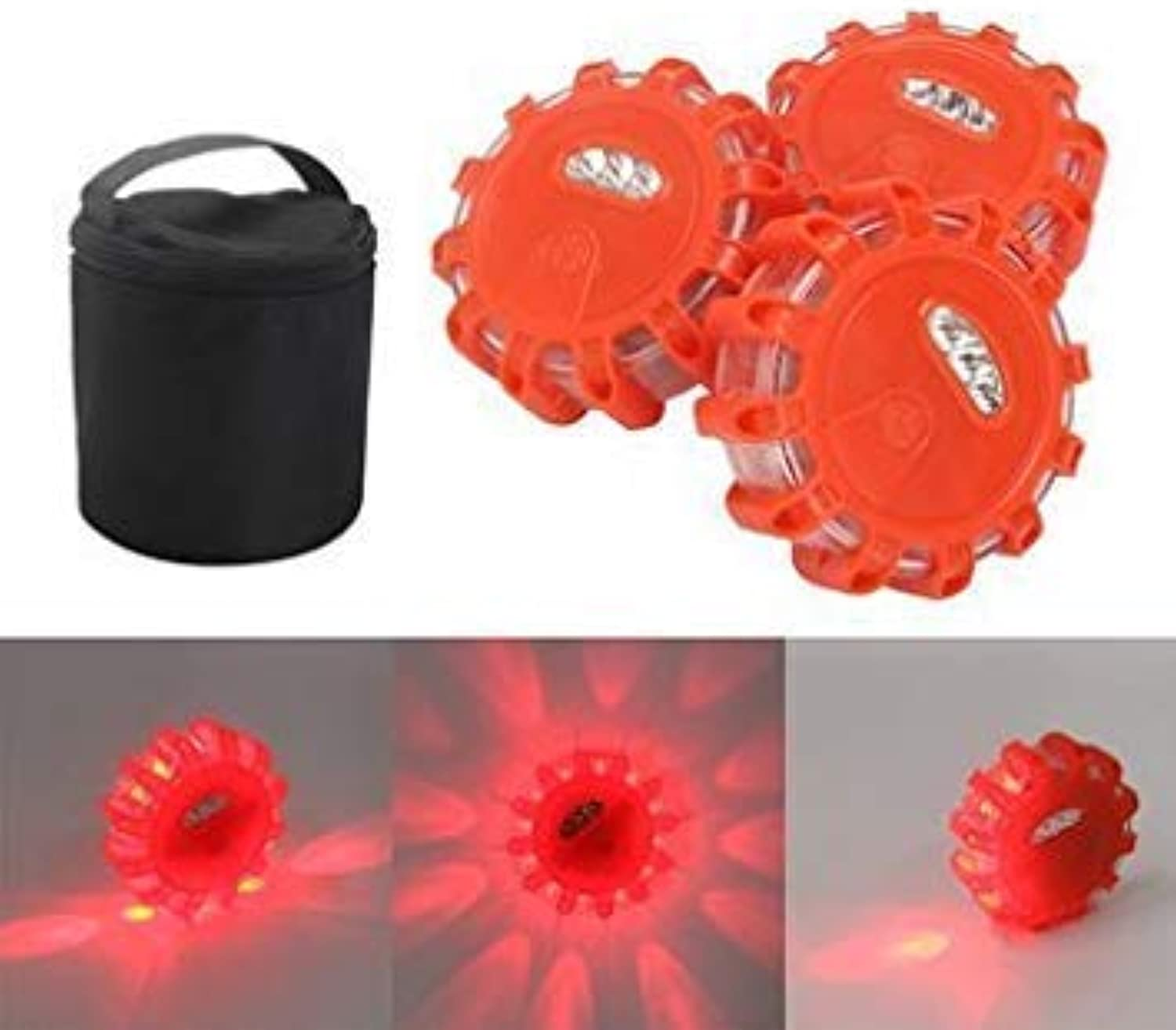 3 Pcs Outdoor Led Road Flares Flashing Warning Lights Roadside Safety Sos Lamp Safety Indicator