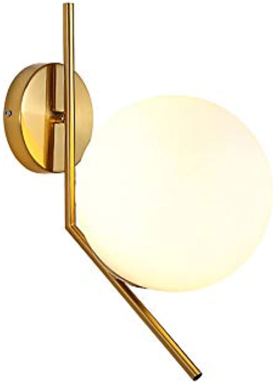 Glaskugel LED Modern Wandleuchten,BERGHT Metall Edelstahl Halterung, Moderne Innendeko Für Wohnzimmer Küche Flur Balkon Büro