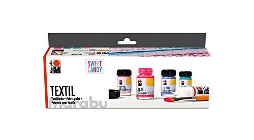 Marabu 1716000000096 - Textil Starter Set Sweet Candy, Stoffmalfarbe, Wasserbasis, für helle Stoffe, waschbeständig bis 60°C, für Stoffmalerei und -druck, 4 x 15 ml Farbe, Fashion Liner und Pinsel