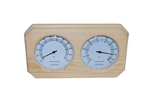 Sauna Thermometer + Hygrometer im Holzrahmen