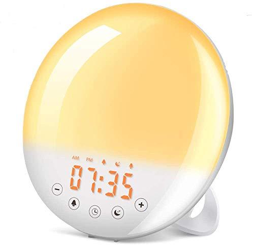 Wake Up Light, SOLMORE Sunrise Alarm Clock Sunset Simulation 7 Colors 9 Alarm Sounds Snooze Function 30 Brightness Adjustable Digital Alarm Clock FM Radio Touch Control for Kids Adults Bedroom