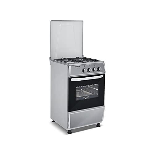 Taurus CIG3FIXM - Cocina de gas butano independiente, 9400W potencia equivalente total, 3 quemadores, preparada para gas, válvulas de seguridad, 50L capacidad horno, tapa metálica, acero inoxidable