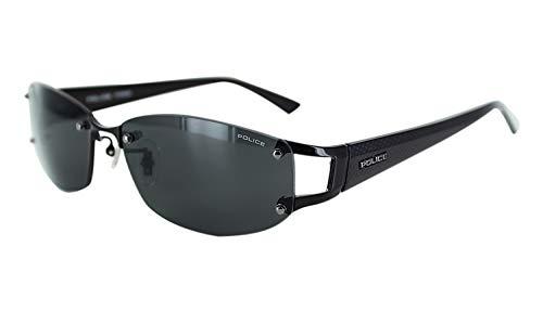 【国内正規品】ポリス 偏光 サングラス メンズ POLICE SPLC60J 530P 59 ケース付き UVカット リムなし ツーポイント ジャパンモデル 2021年モデル オーバル チタン コンビフレーム シャイニーブラック/グレー偏光