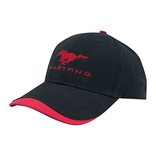 Ford Mustang Baseball Cap, Adjustable 100% Brushed Cotton Twill Hat, One Size, Red and Black