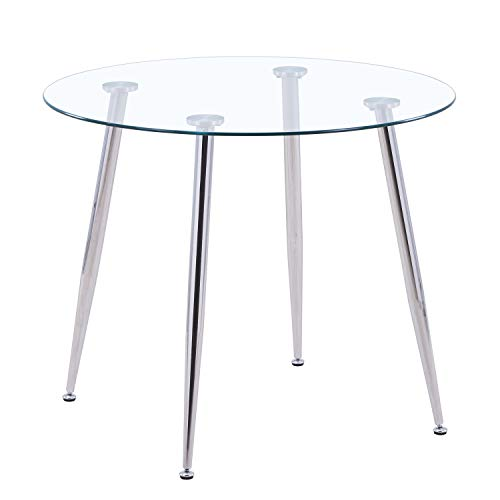 GOLDFAN Glass Round Dining Table Modern Living Room Kitchen Dining Tables with Chrome Legs for Dining Room Office Lounge