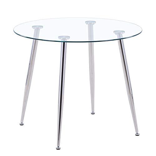 GOLDFAN Tavolo da Pranzo Rotondo in Vetro Tavolo da Pranzo Moderno da Cucina con Gambe Cromate per Sala da Pranzo Ufficio Lounge