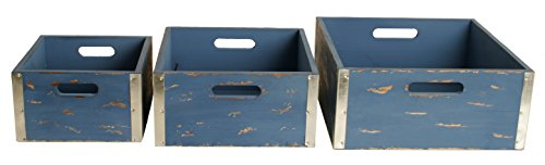 Wald Imports Blue Wood Decorative Crates, Set of 3
