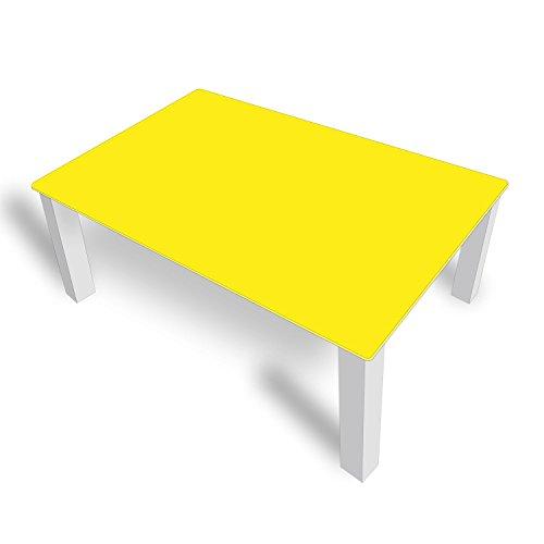 DekoGlas FMK-05-022 Table Basse en Verre Unie Jaune 45 cm de Haut avec Plateau en Verre 80 x 80 cm 100 x 100 cm 90 x 55 cm 112 x 67 cm 120 x 75 cm