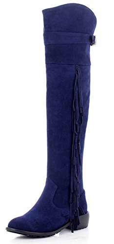 APHNUS Womens Boots Tassel Fringed Thigh Knee High Boots Blue95