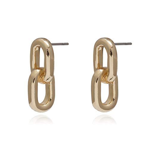xingguang Pendientes de plata de ley con forma de relámpago y cadena de estilo vintage simple para mujer, pendientes geométricos creativos (color metálico: cadena dorada)