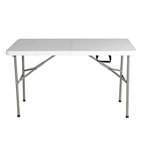 FACAI Mesa Plegable Resistente,Muebles de Picnic para Acampar de Jardín,Mesa de Camping Portátil de Altura Ajustable,White-120cm