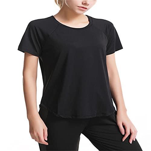 MDW WYR - Camiseta deportiva para mujer, secado rápido, yoga, manga corta, para correr, fitness, color negro y XXL