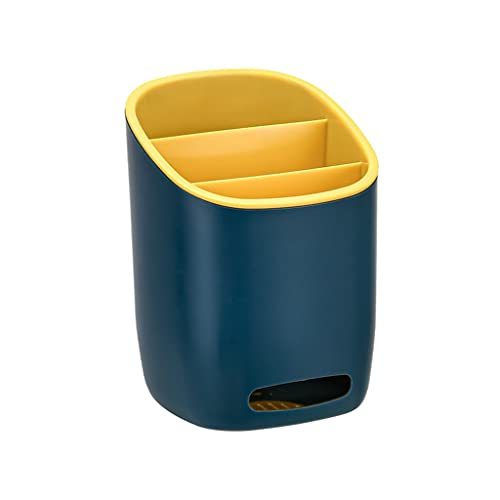 Cestas para cubiertos Rejilla de Drenaje vajilla Multifuncional Caja de Almacenamiento de Cubiertos Soporte de plástico para Palillos Cocina hogar (Color : Yellow, Size : 4.8 * 4.8 * 6.69inches)