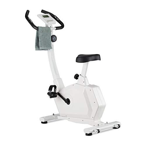 Relaxdays Heimtrainer Fahrrad, 130 kg, Display, Pulsmesser, höhenverstellbarer Sattel, Magnetbremse, Hometrainer, weiß