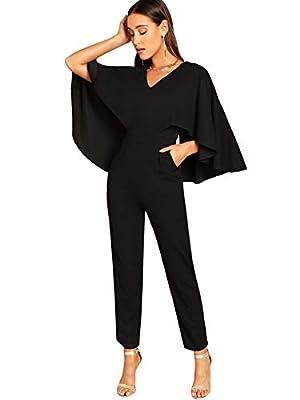 Romwe Women's V-Neck Solid Cape High Waist Long Pants Jumpsuit Black#1 Large