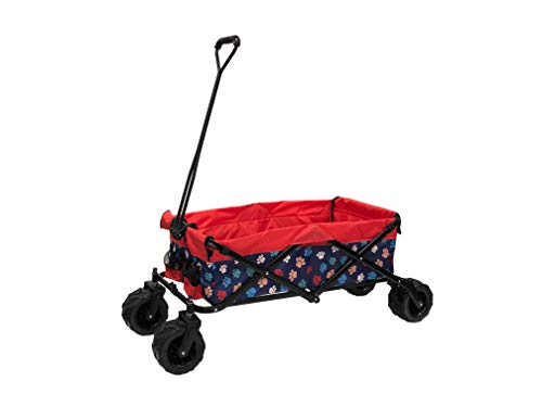 WagonsRus Limited Edition AllTerrain Collapsible Folding Utility Wagon Beach Outdoor Camping Sports Pet  Paw Pattern