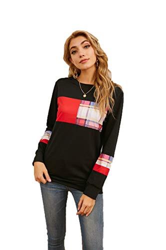 SLYZ Señoras De Primavera Y Verano Código Europeo Moda Plaid Manga Larga Costura Cuello Redondo Camiseta Blusa