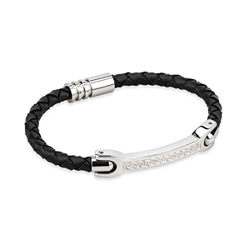 Solvar Mens Black Thin Leather Bracelet Wristband with Steel Celtic Knot Design