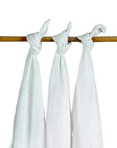 Jollein Pack de 3 Serviettes Multi Tissue Blanc 115 x 115 cm