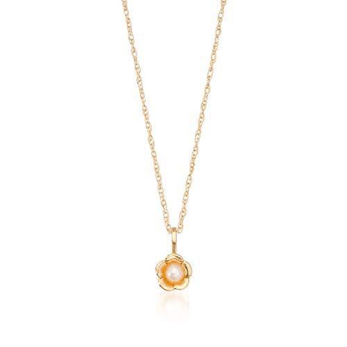 ROSS-SIMONS 아동 2.5MM 배양 된 진주 꽃 펜던트 목걸이 14KT 옐로우 골드. 15 인치